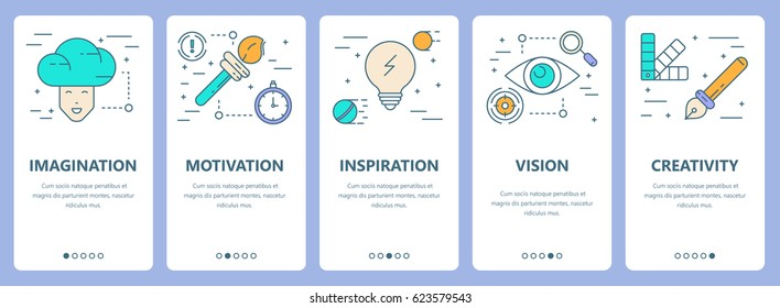 Vector set of innovation concept vertical banners. Imagination, motivation, inspiration, vision and creativity concept elements. Thin line flat design symbols, icons for website menu, print.