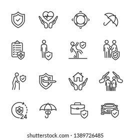 Vector set of insurance line icons.