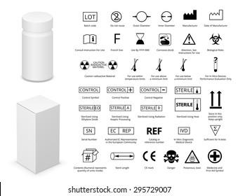 Vector Set of International Medical Package Symbols  and Medicine Bottle with Cardboard Package. Illustration EPS8