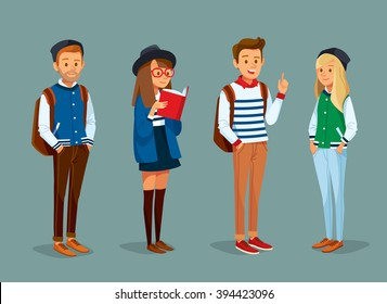 vector set of international students with books