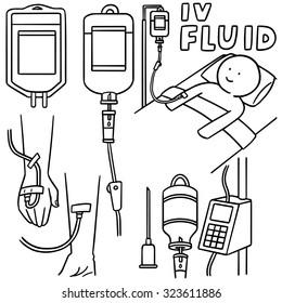 vector set of intravenous fluid set