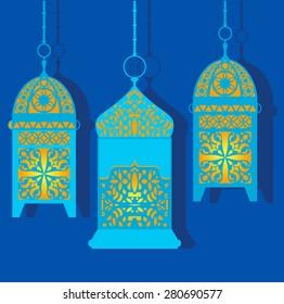 Vector set of intricate arabic lanterns