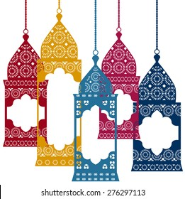 Vector set of Intricate colorful arabic lanterns. Vector illustration.