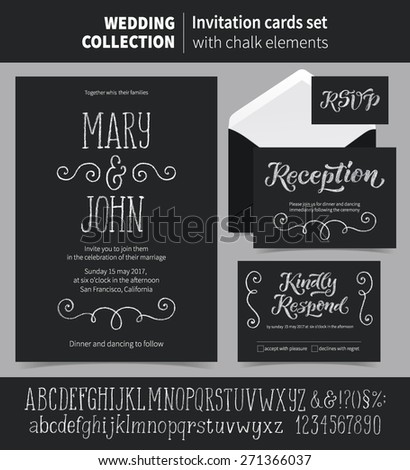 Vector set of invitation cards with chalk ornamental elements. Wedding collection of template: Save the Date, Reception, Kindly Respond, RSVP, cards and labels. Chalk letters and signs included.