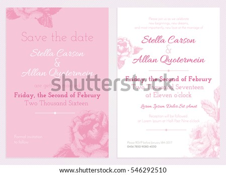 vector set of invitation and save the date cards with pink flowers wedding collection