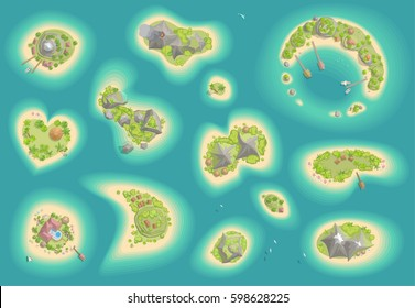 Vector set. Islands top view. Tropical islands of various shapes and terrain. (view from above)
