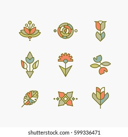Vector set of isolated abstract flowers and plants. Decorative design elements.