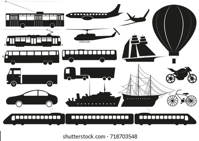vector set of isolated abstract transport silhouettes