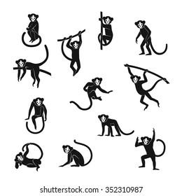 Vector set isolated black monkey silhouettes  in different stance. Symbols of Chinese New Year.