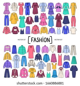 Vector set with isolated colored doodles of women's clothing, wear on white background. Set on the theme of beauty and fashion, women's wardrobe