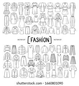 Vector set with isolated doodles of women's clothing, wear on white background. Set on the theme of beauty and fashion, women's wardrobe