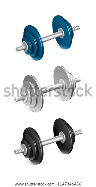 vector set of isolated dumbbell patterned for sports