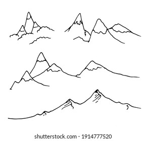 Vector set of isolated elements contour mountains with a black line on a white background. mountain range simple doodle style drawing for design template