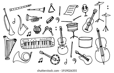Vector set of isolated elements Musical instruments drawn by hand in the doodle style black outline on white background for the design template.Sheet music, drum flute, violin cello, etc.