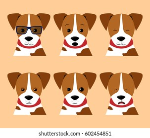 Vector set isolated emotion puppy dog. Collection funny dogs in cartoon style. Stock Illustrations isolated emoji character stickers with different emotions for site, print, reports, comics, web