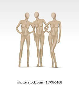 Vector Set of Isolated Female Mannequins