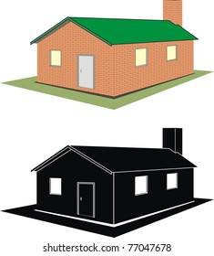 Vector set of isolated illustration - brick house (cottage) on white background, silhouette