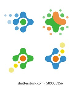 Vector set of isolated logos crosses. The abstract symbols of science and medicine.