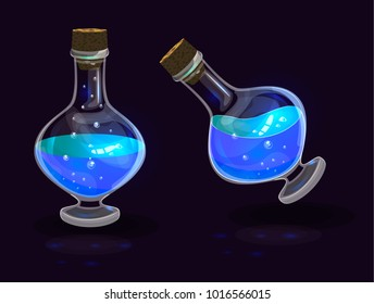 Vector set of isolated magic bottles with bright lightning blue potion; element of app user fantasy game interface; blue aqua potion with bubbles and bright radiation