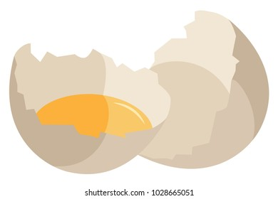 Vector set of isolated object. Halves of a broken fresh egg with yolk in one of the halves. On a transparent background