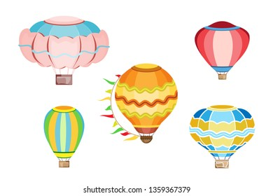 Vector set from isolated objects of different balloons on a transparent background