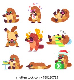 Vector Set of Isolated Platypus Character in Various Emotional States