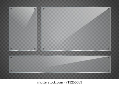 Vector set of isolated realistic glass billboard on the transparent background for decoration and covering.