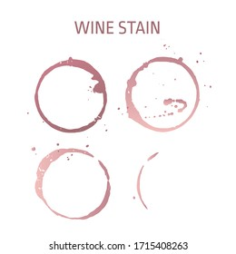 Vector set of isolated red wine stain circles with texture. Glass print element. Watercolor hand drawn glass marks of wine stain for graphic design. Pattern, template, background
