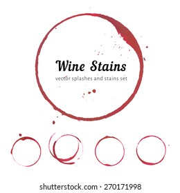 Vector set of isolated red wine stain circles. Wine stain logo design. Wine bottom glass ring stains for badge design. Watercolor hand drawn glass marks of wine stain on white background