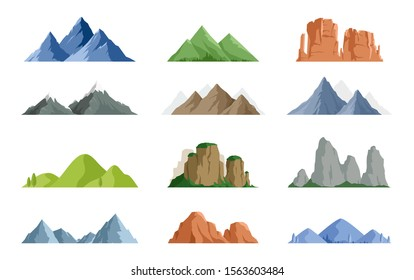 Vector set of isolated snowy mountains, mountain peak, hill top, iceberg, nature landscape. Camping landscape and hiking illustration. Outdoor travel,  adventure, tourism, climbing design elements