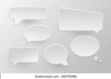 Vector set of isolated speech bubbles on the gray background.