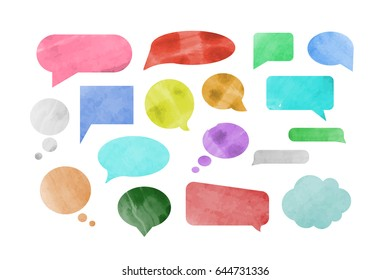 Vector set of isolated speech bubbles on the white background in watercolor design. Concept of network, social media and messaging.