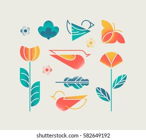 Vector set of isolated spring and summer nature with abstract grain textured flowers, birds and butterfly. Design elements