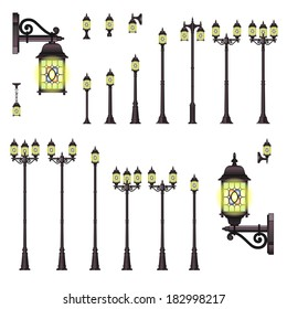 Vector set of isolated Street lanterns in Vintage style with different types of stands and openwork convoluted details