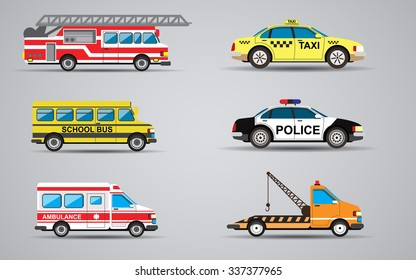 Vector set of the isolated transport icons. Fire truck, ambulance, police car, truck for transportation faulty cars, school bus, taxi.