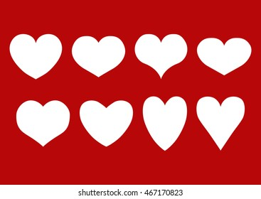Vector set of isolated white hearts of different shape on a red background. Eps 10.