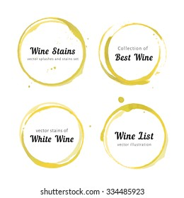 Vector set of isolated white wine stain circles. Wine stain logo design. Wine bottom glass ring stains for badge design. Hand drawn glass marks of wine stain on white background
