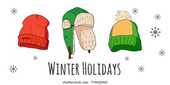 Vector set of isolated winter accessories. Color sketch.