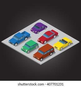 Vector Set Isometric Cars