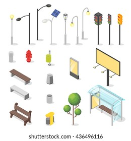 Vector set of isometric city objects. Various urban elements: bus stop, bench, traffic light.