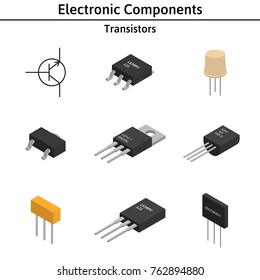 Vector set of isometric electronic components. Collection of transistors.
