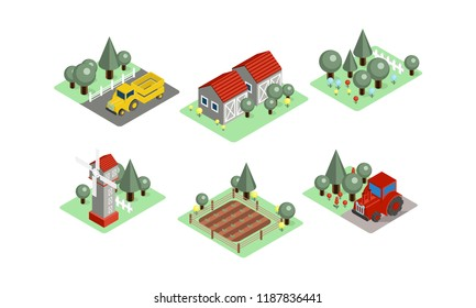Vector set of isometric farm icons. Tractors, field with harvest, wooden barns, windmill and garden. Agricultural compositions