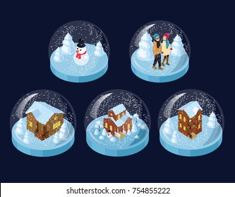 vector set of isometric glass snow balls with houses snowman and couple set of snowglobes spheres with snow chrismas winter souwenirs houses glass  cosy isometric snowman snowballs glass decor snow