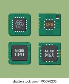 Vector set isometric  icons of micro-chip and processor. Illustration Quantum processor, micro-processor, processor with board; electronic CPU. Chip image in flat style