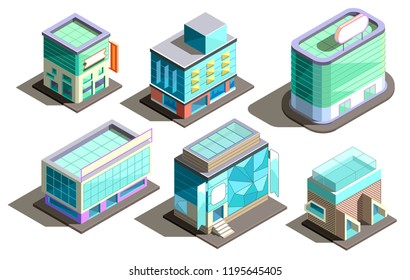 Vector set of isometric modern buildings in cartoon style. Collection of urban skyscrapers with glass elements. Town exterior, residential construction. Architecture, cityscape collection for design