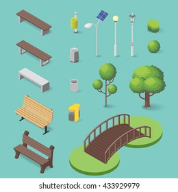 Vector set of isometric park objects: bench, trash box, trees, lamps and bridge.