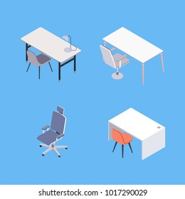 Vector Set in Isometric Style of the Office Furniture. Includes Different Kinds of Desks, Tables and Chairs.