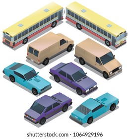 Vector set of isometric urban transportation. Cars with shadows isolated on white background. Sedan, bus, sport, retro, wagon, van automobiles in cartoon style. Collection of city vehicles.