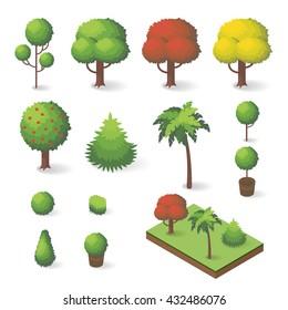 Vector set of isometric various trees: fir-tree, apple tree, palm tree.