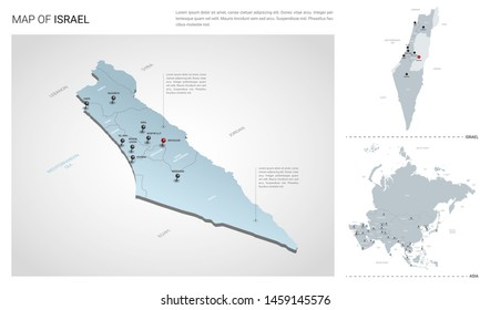 Vector set of Israel country.  Isometric 3d map, Israel map, Asia map - with region, state names and city names.
